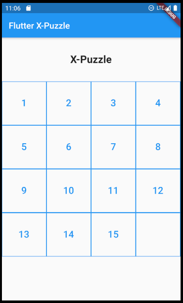Implementation of the 15-puzzle game in Flutter
