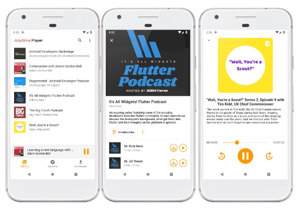 Easy to use Podcast player app written in Flutter and Dart