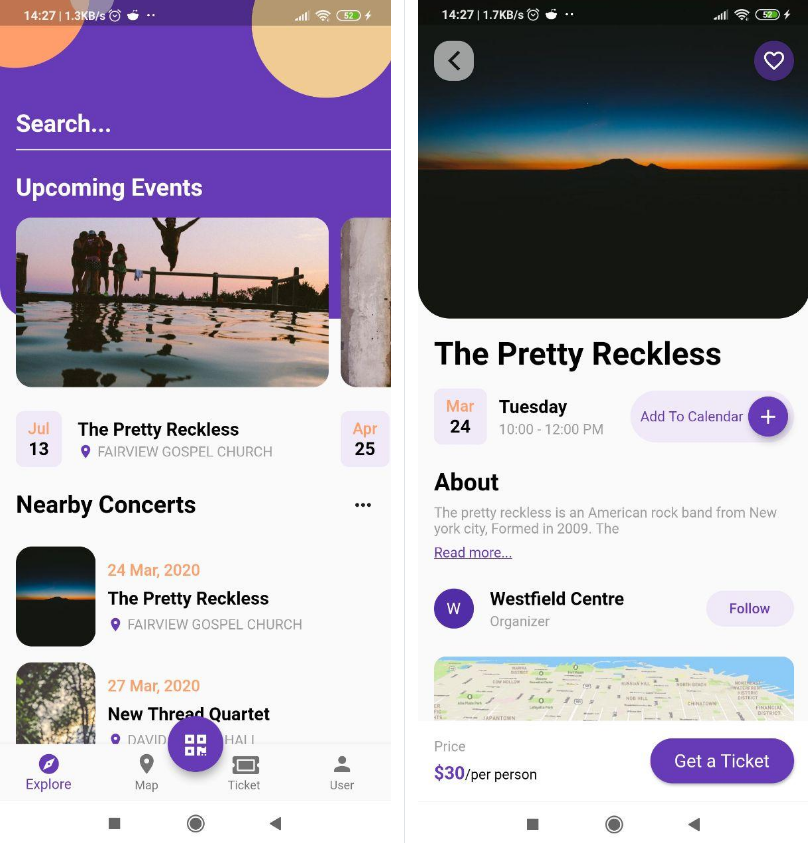 Flutter Event app UI design from Dribbble