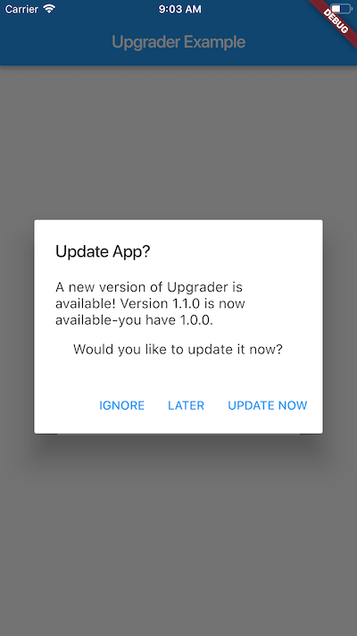 Flutter package for prompting users to upgrade