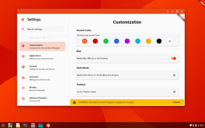 Pangolin Desktop UI shell designed for dahliaOS in Flutter