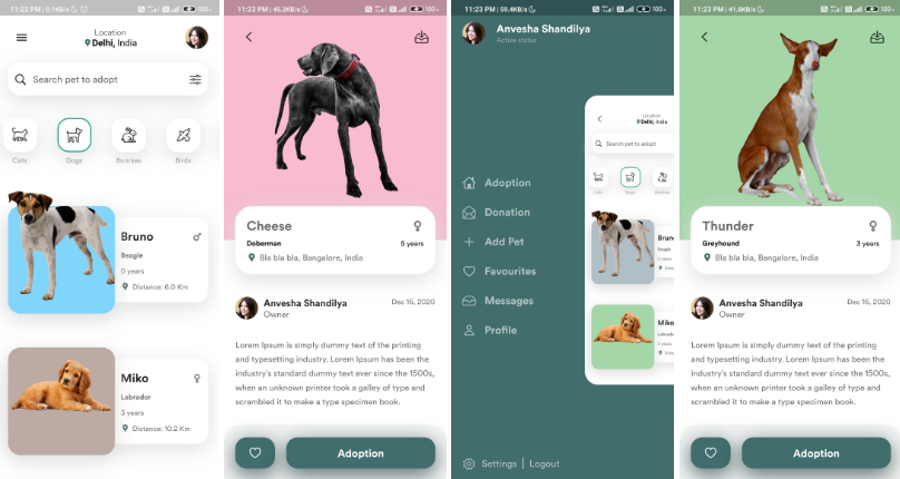 A beautiful and cute app for pet adoption made with Flutter