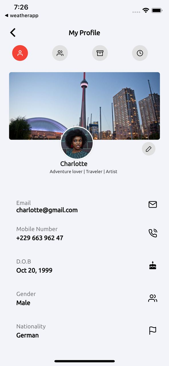 Flutter representation of the Traveler's Social App