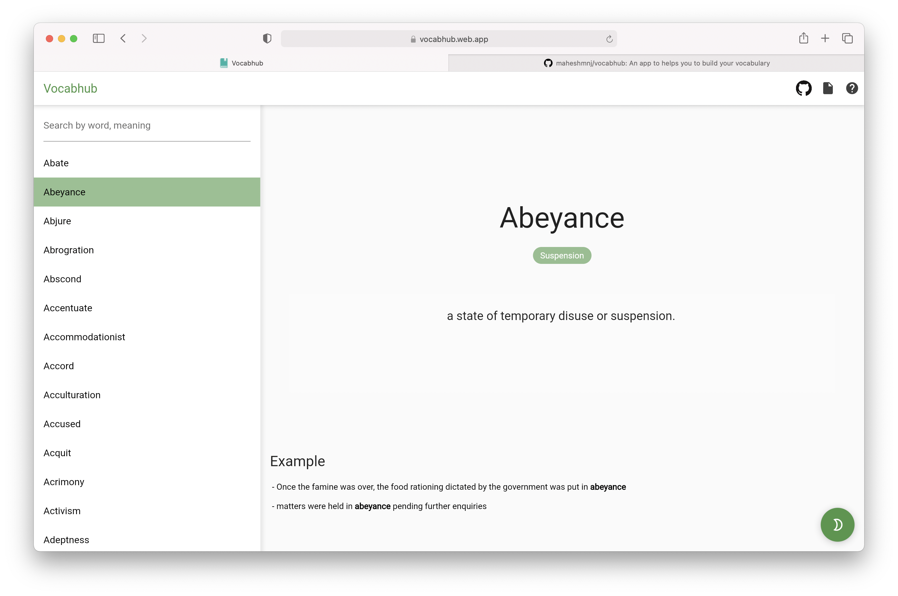 A vocab app built with Flutter and Supabase