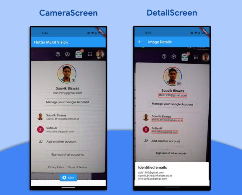 Flutter sample app using MLKit Vision API for text recognition