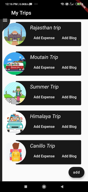 Trip management mobile Application with flutter
