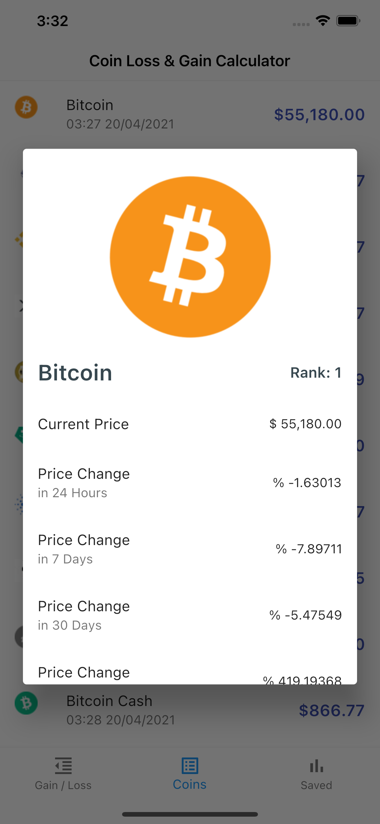 Crypto Loss Gain Calculator App build with Flutter