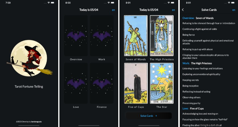 Tarot Card App Build using Flutter