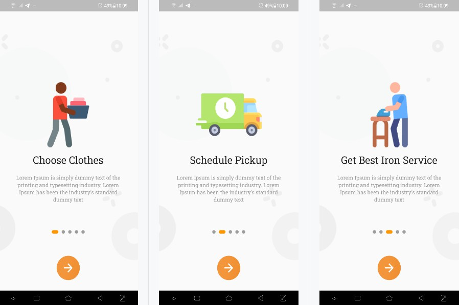 An android cloth ironing user interface built in flutter