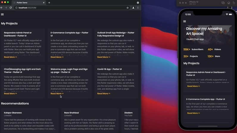 Responsive and Animated Portfolio Website & App using flutter