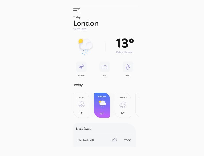 A Weather App Created To Replicate Design With Flutter