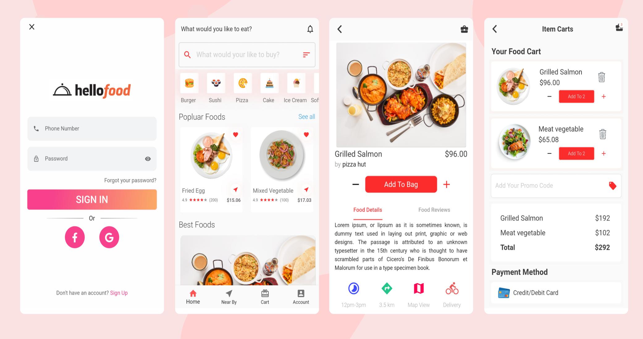 Flutter Food Delivery Application Design