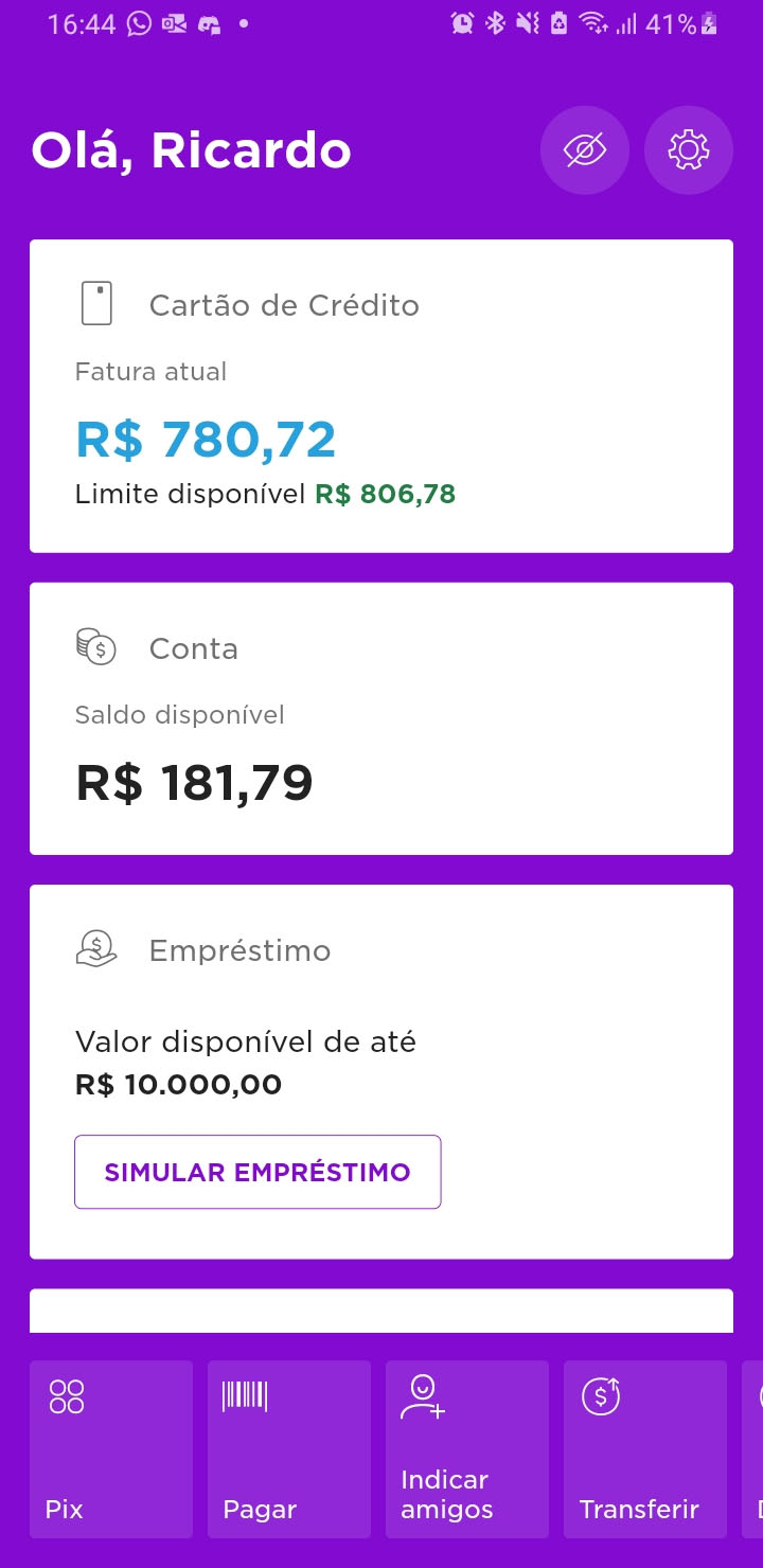 A Clone of Nubank's mobile app using Flutter