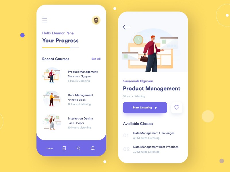 Online Learning Screen UI With Flutter