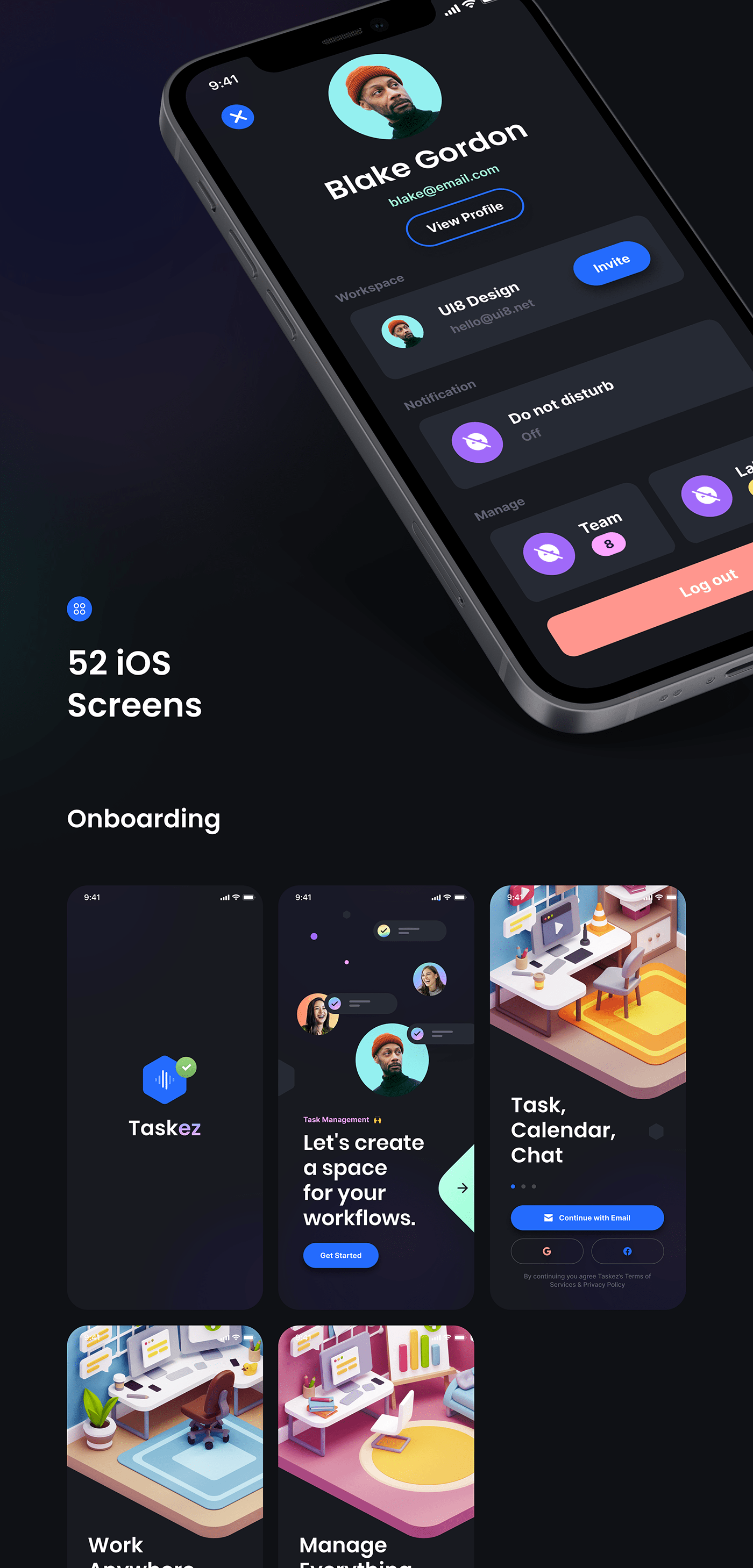 A productivity app design UI kit created with Flutter