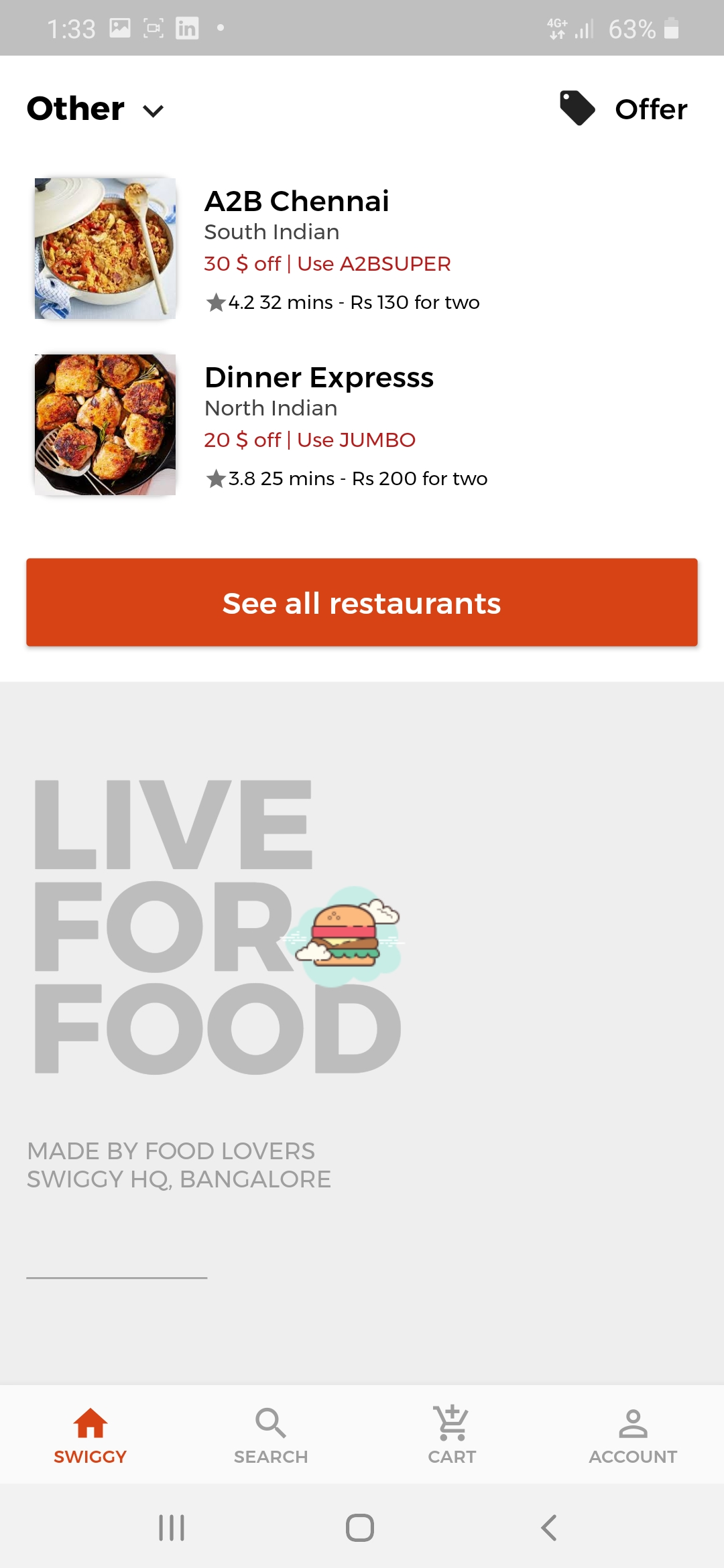 A UI clone of a famous food ordering app called Swiggy built using Flutter