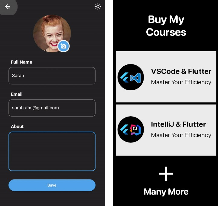 Create a Flutter User Profile Page UI where you can access and edit information