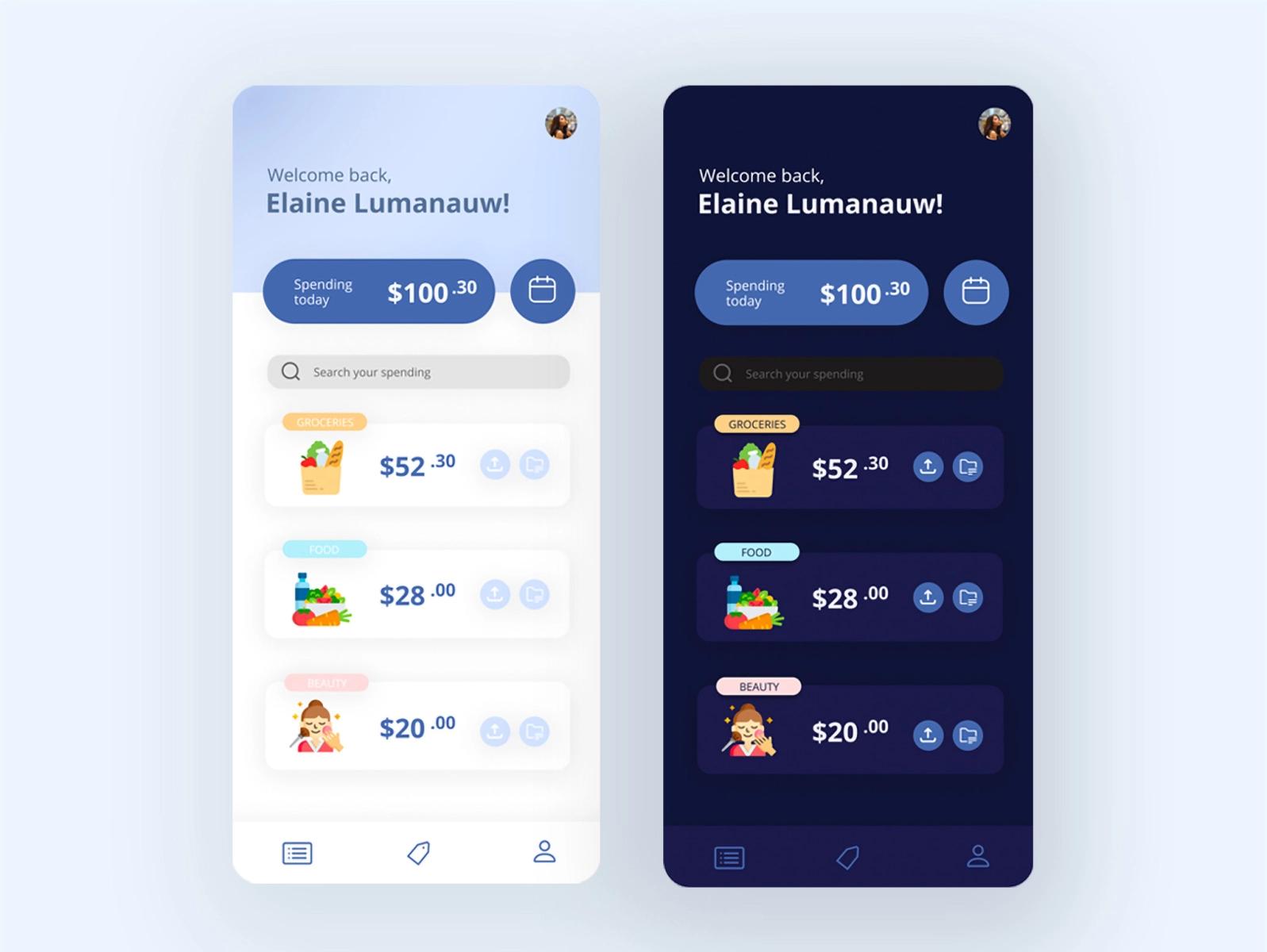 A minimal home screen design for a spending tracker app in flutter