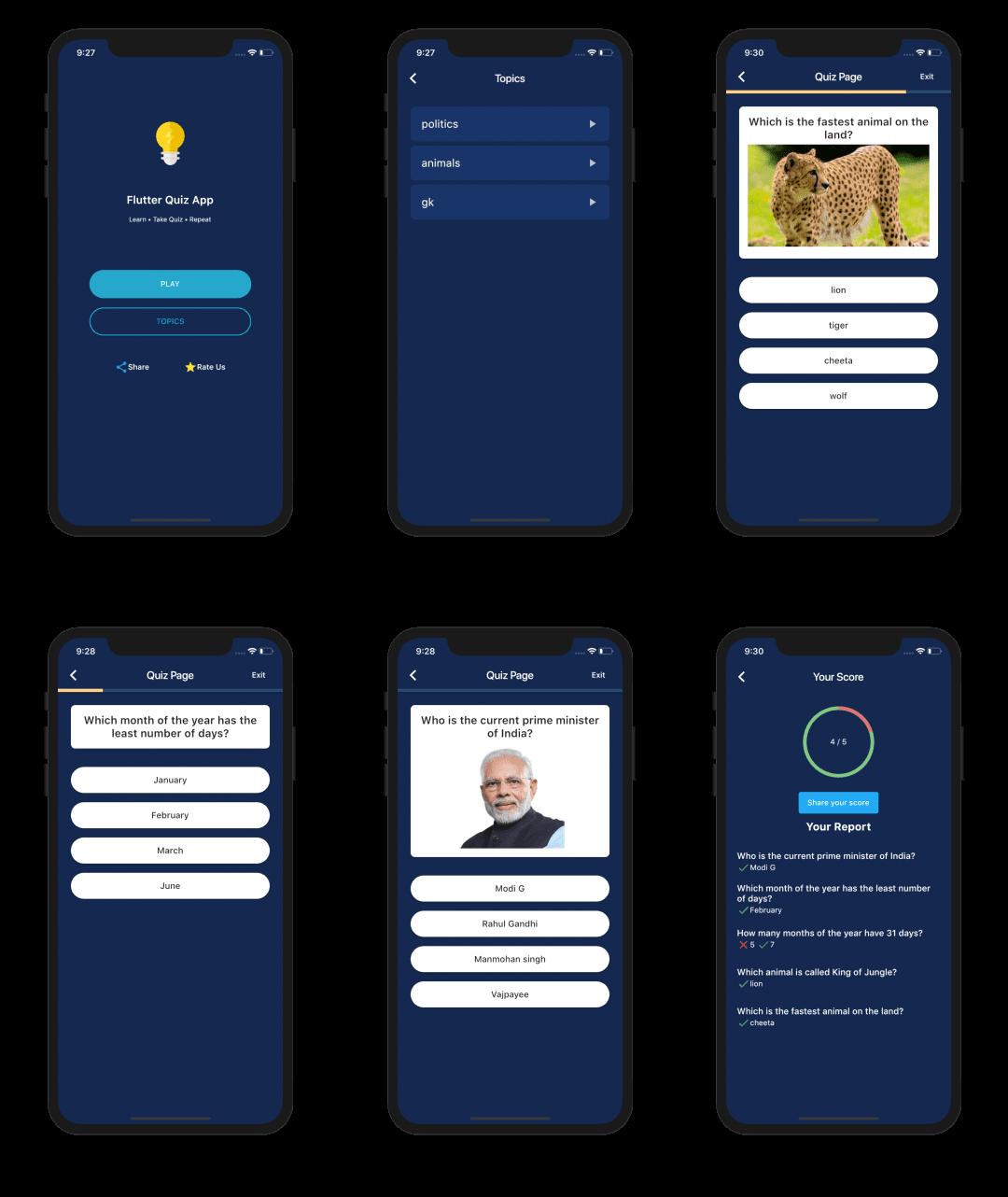 A quiz app built using Flutter