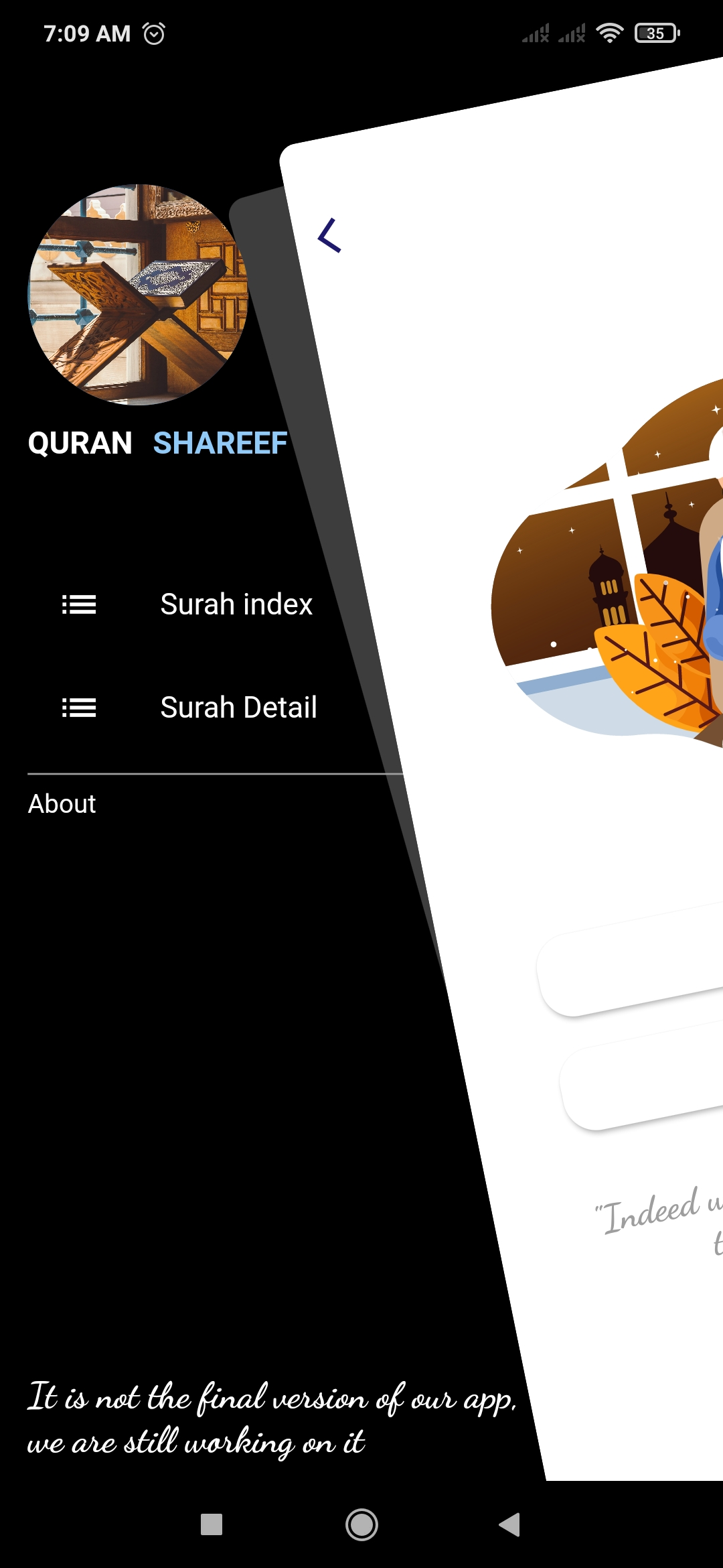 Beautiful Quran Majeed app with aesthetic Animation