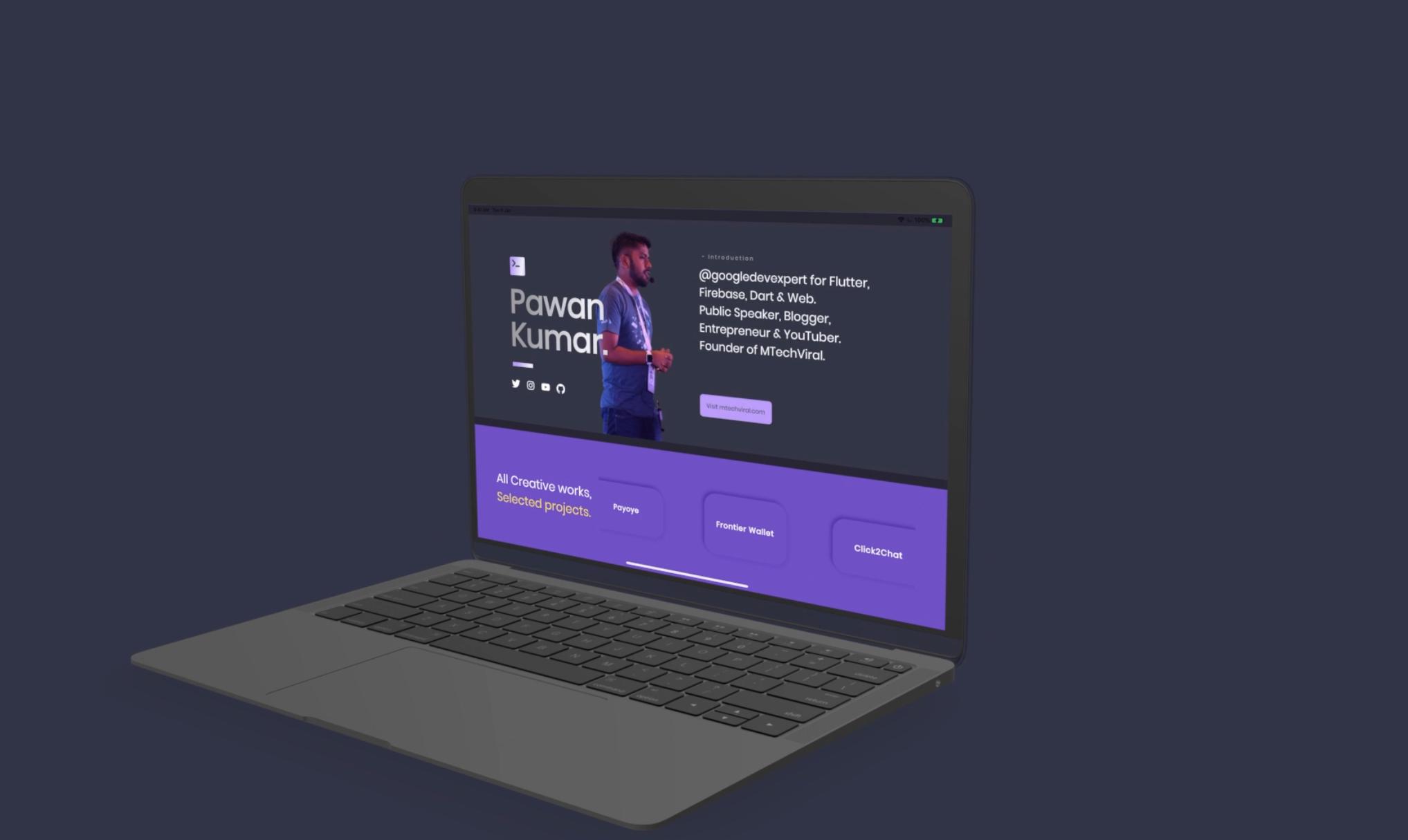 Responsive Portfolio App Made With Flutter With VelocityX