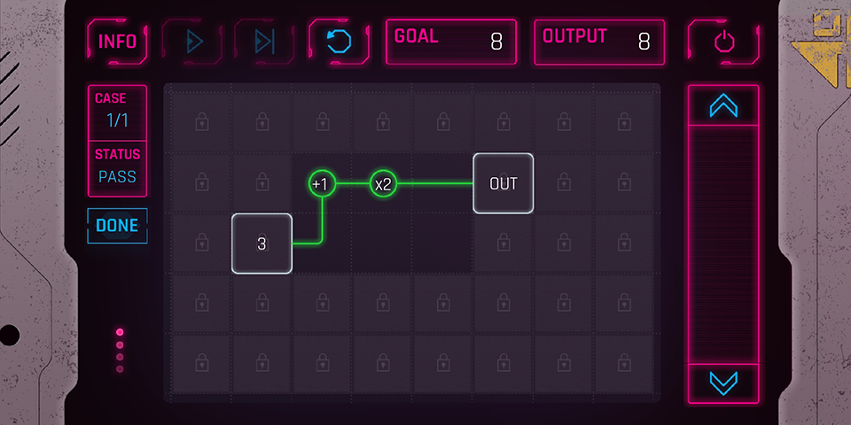 Cyberpunk-inspired puzzle game prototype created with Flutter and Flame