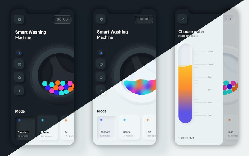 Flutter UI challenge (with Box2D physic)- Smart washing machine app