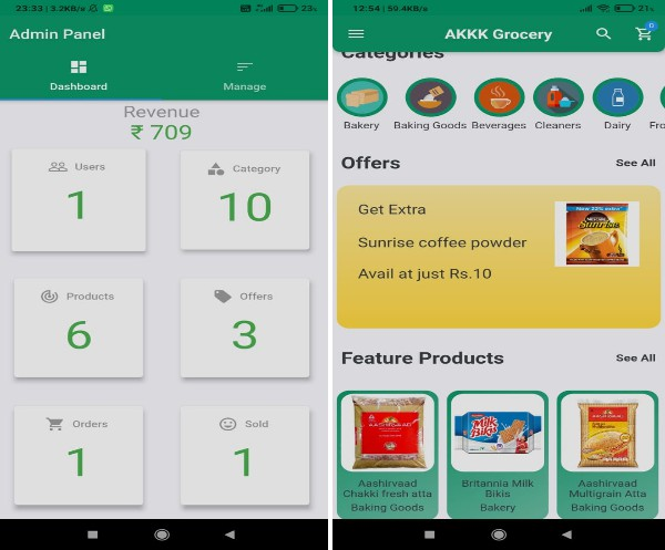 An online grocery selling app developed using flutter and firebase