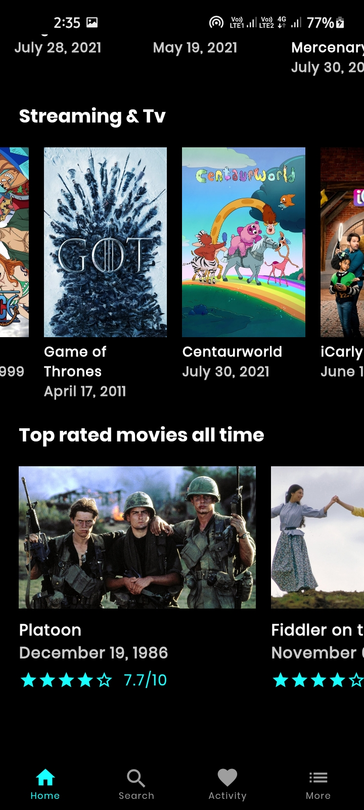Find The Latest trending and upcoming movies and tv shows with MovieDB app