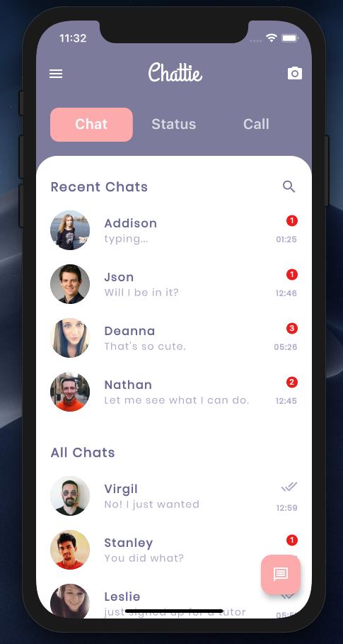 A chat app ui design made in flutter