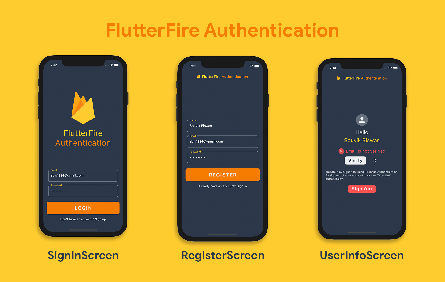 Firebase + Flutter sample apps with code snippets