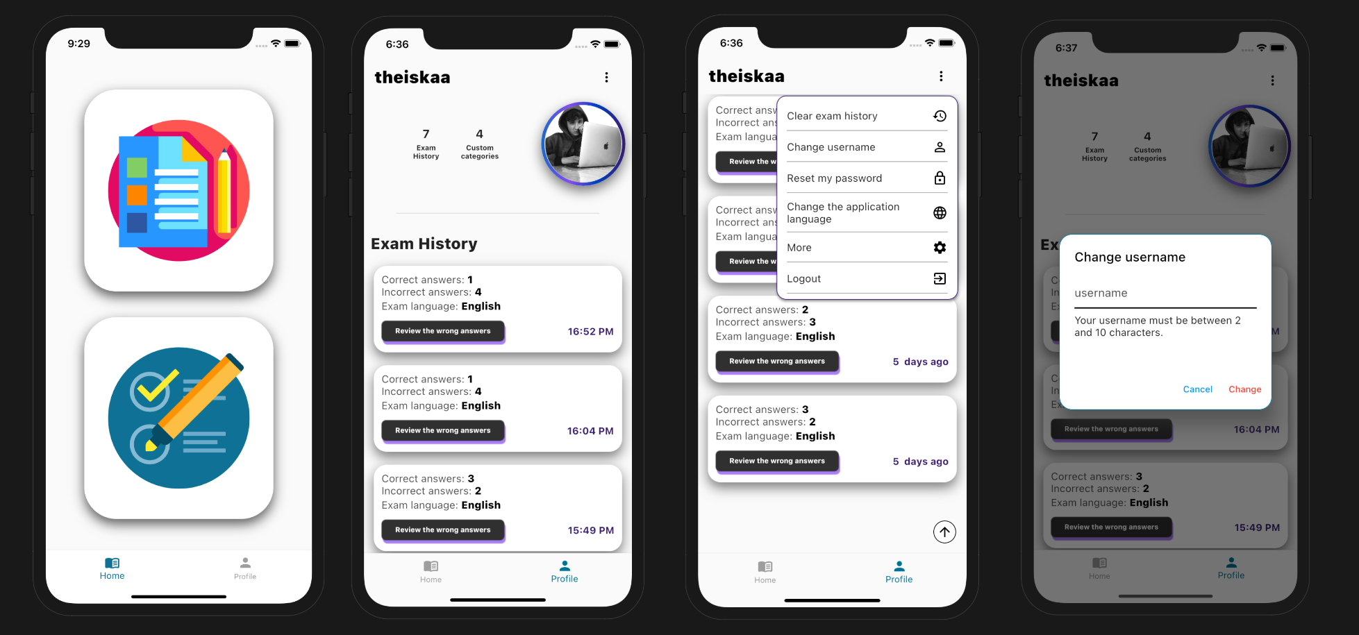Exam and training app as social media developed with flutter