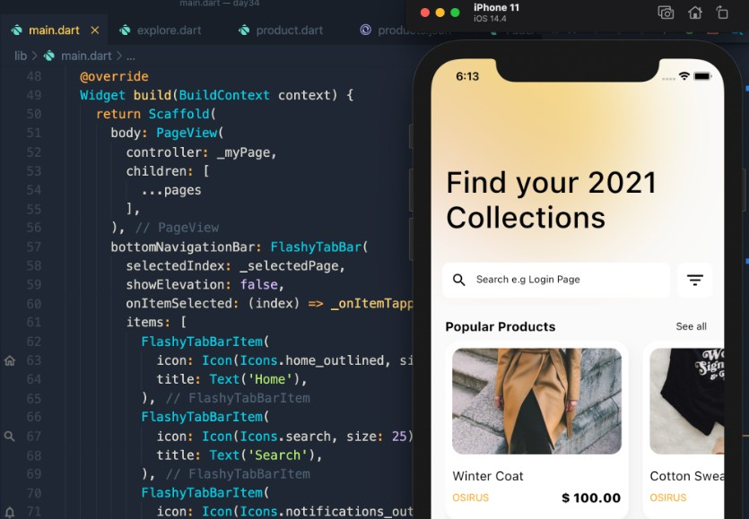 A Flutter e-commerce Application Example