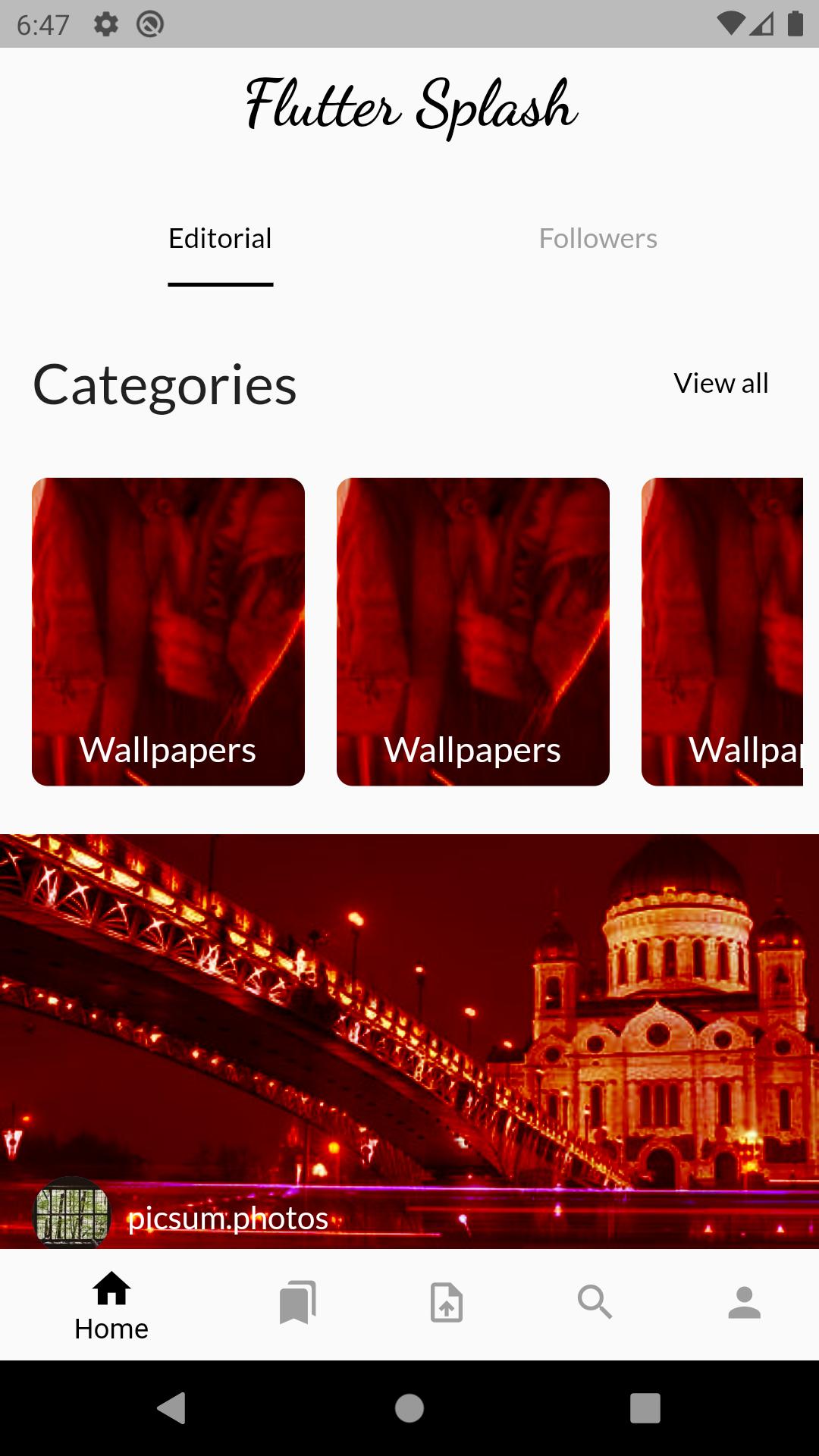 Redesign Unsplash Mobile Application with flutter tools