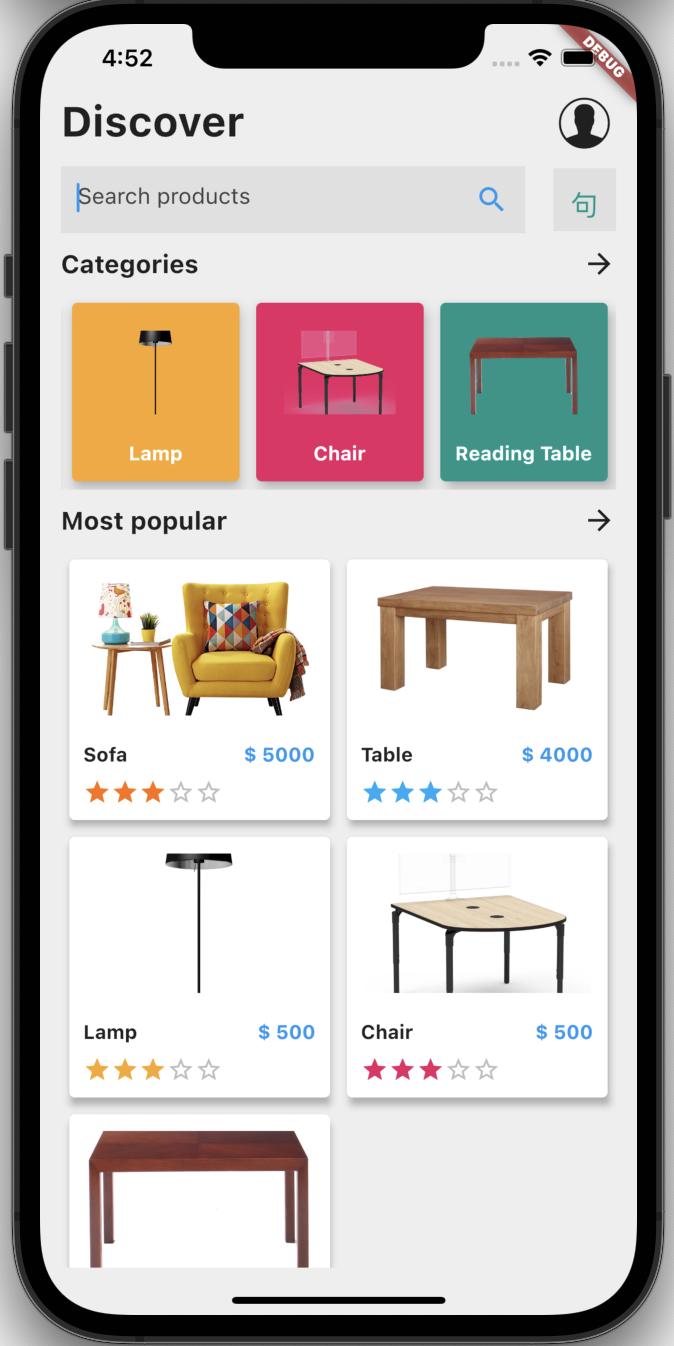 E-commerce application ui in flutter