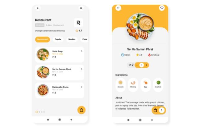 Flutter food ordering app UI