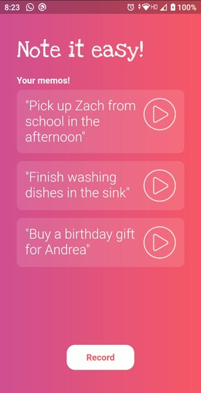 A beautiful app that allows you to record voice memos with a press of a button